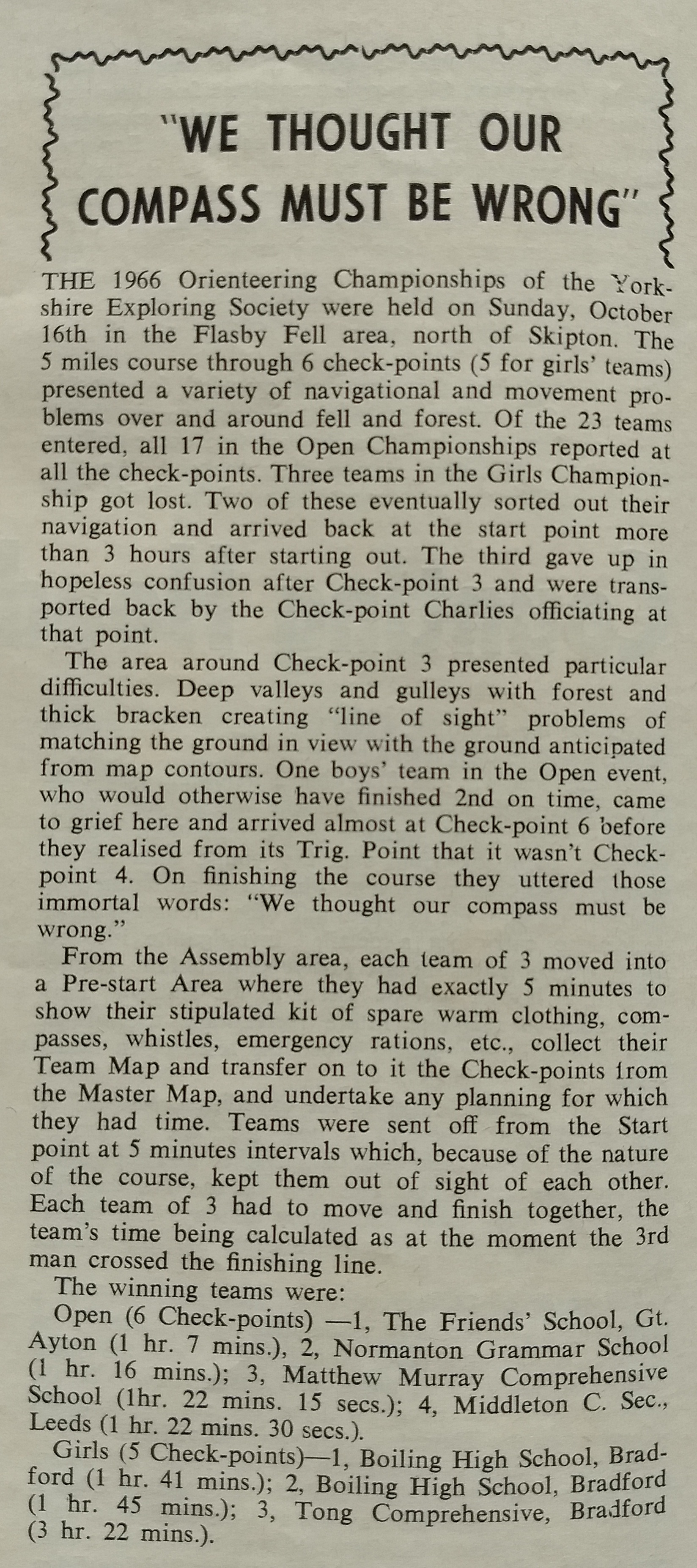 Clipping from The Climber November 1966
